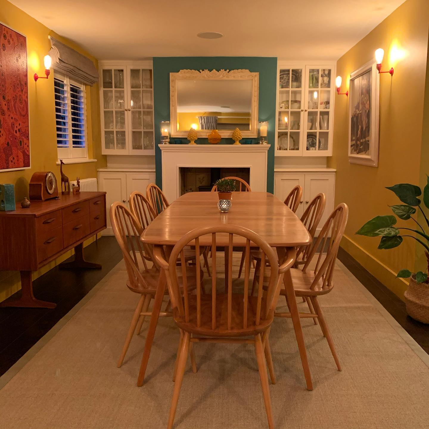 I banish thee grey Winter from our home! Dining room redecorated! @littlegreenepaintcompany #yellow-pink