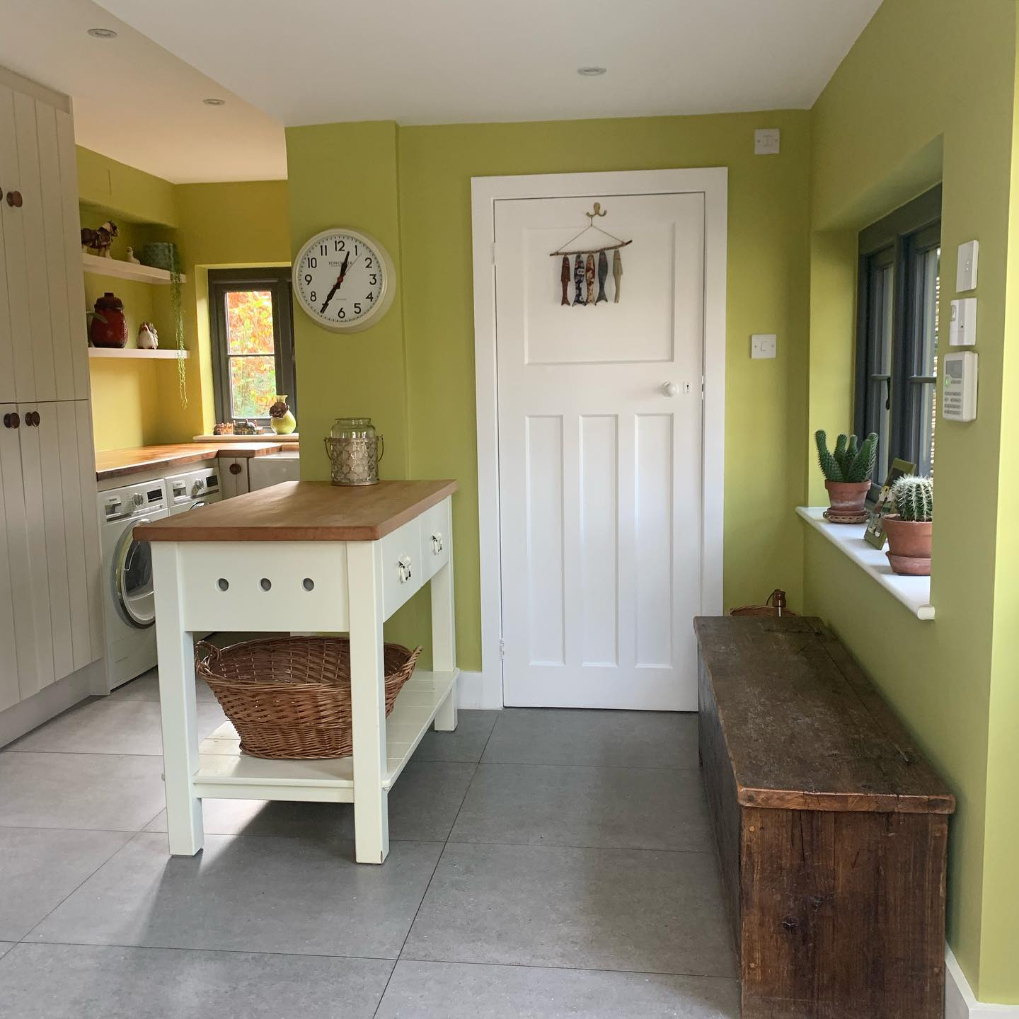 Boot room given an uplift with 'pale lime' by @littlegreenepaintcompany