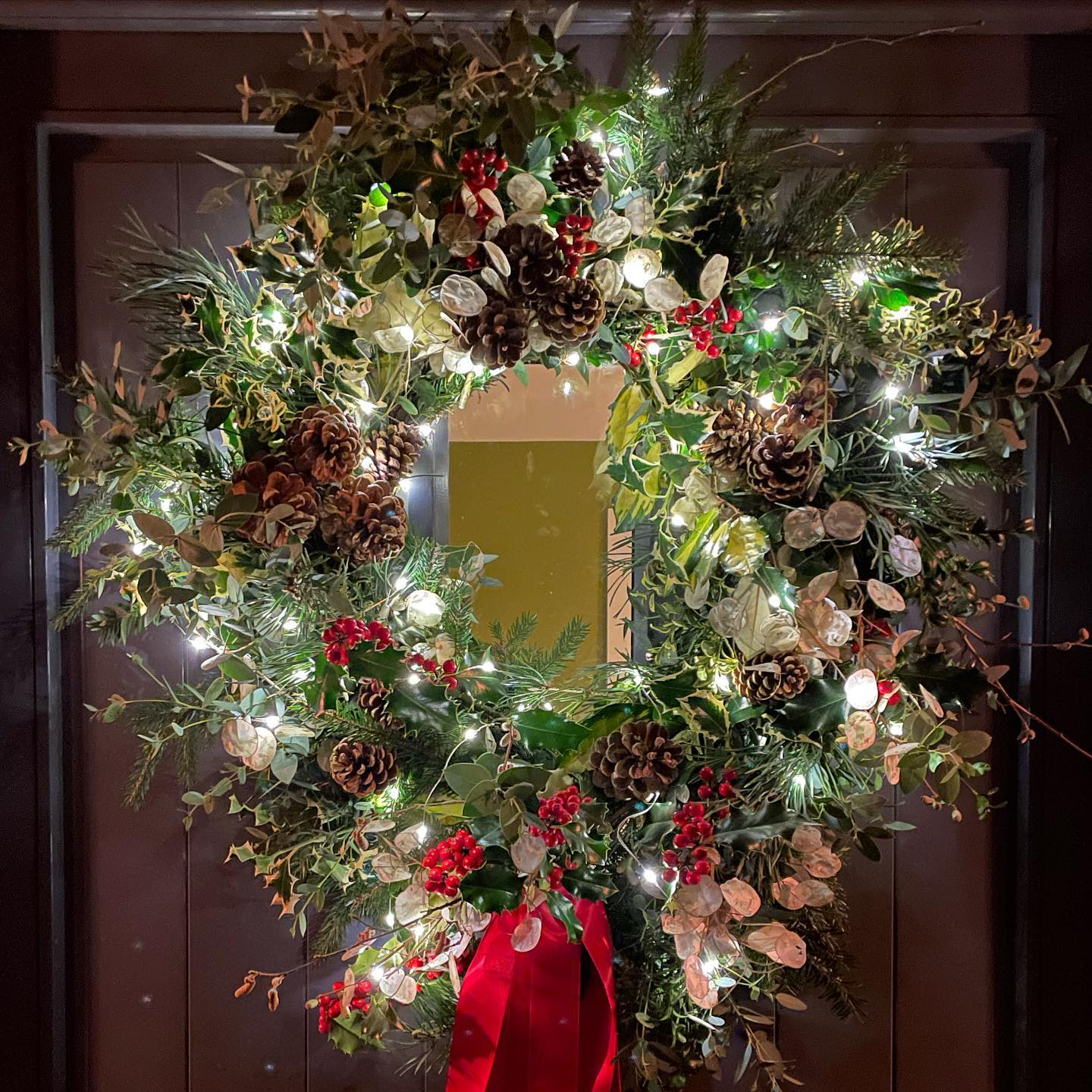 Christmas wreath 2020... the Prosecco may have hampered our productivity as it ended up being an all night affair! Went quite traditional this year as the Holly bush at the bottom of the garden is smothered with berries and deserved to be the star. Lots of evergreens, yew, pine, fir and eucalyptus. Pine Cones collected in the summer and Honesty seed heads like one hundred shimmering moons. Variegated foliage is the icing on the wreath this year with wonderful Ilex aquifolium 'Argentea Marginata', Elaeagnus ebbingei Gilt Edge and Luma apiculata (Myrtus) Glanleam Gold. Anyone tells you variegated foliage is hideous... ignore, ignore, Ignore!