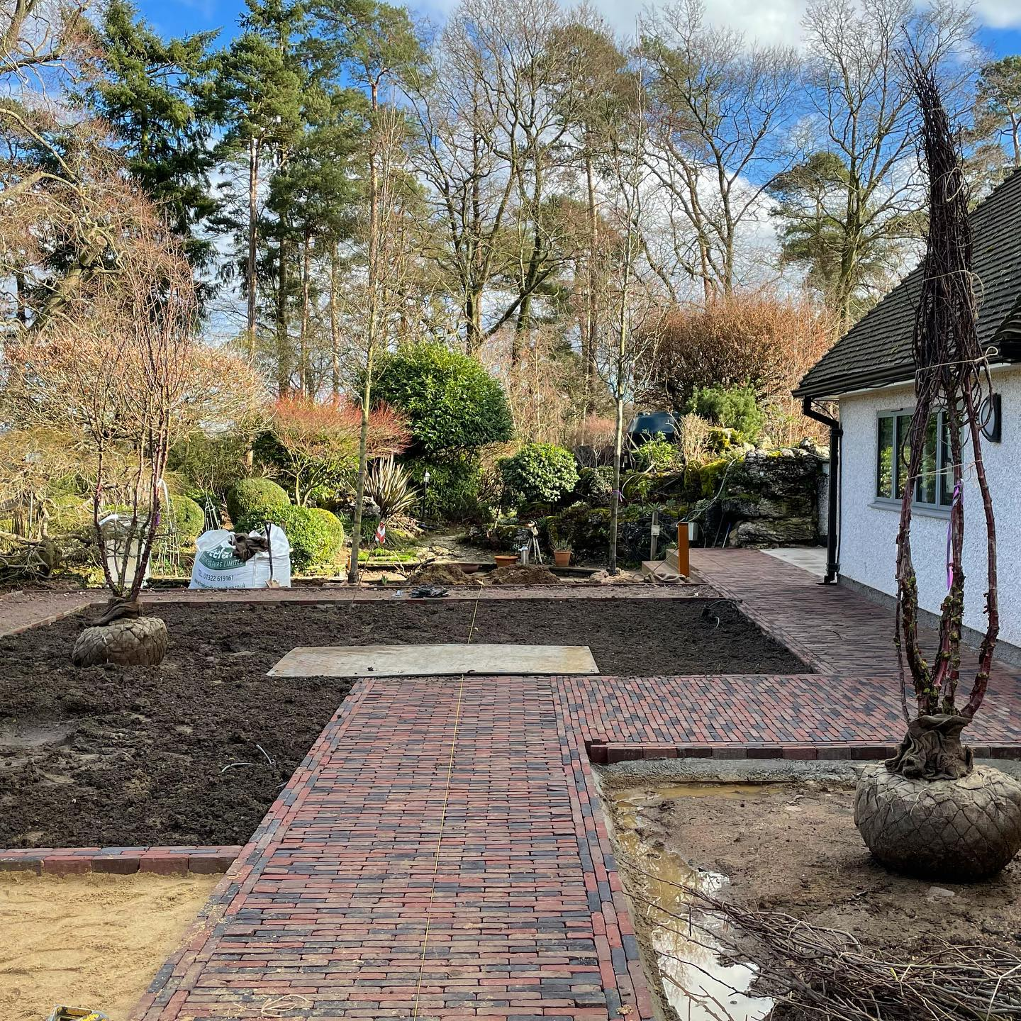 Tree planting today with @belderboslandscapes on a smart new front garden which is really taking shape. The path to the front door used to run alongside the house and by moving it away and creating an L-shaped journey to the front door our clients home really feels like it is starting to breathe. Trees from @deepdaletrees are Pyrus calleryana Chanticleer and Prunus serrula tibetica, their shiny burgundy stems chosen to compliment the colours of the @brickworksvandemoortel Ancienne Belgique copper brown clay pavers. The structural planting is going to be the star on this one though!