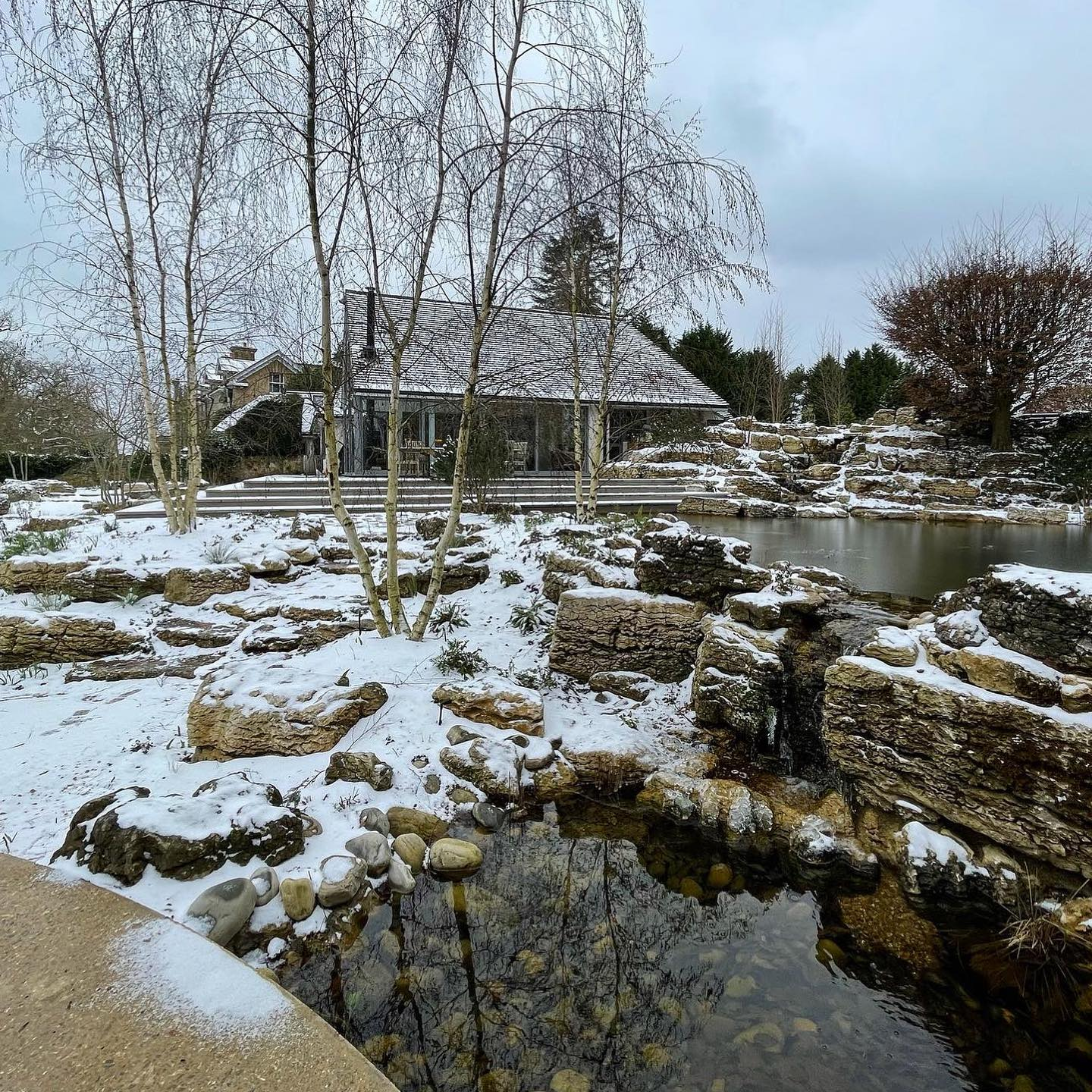 Popped in to see our Surrey project in the snow today. Winter wonderland! Waterfalls look just as magical covered  in snow @waterartisans @belderboslandscapes