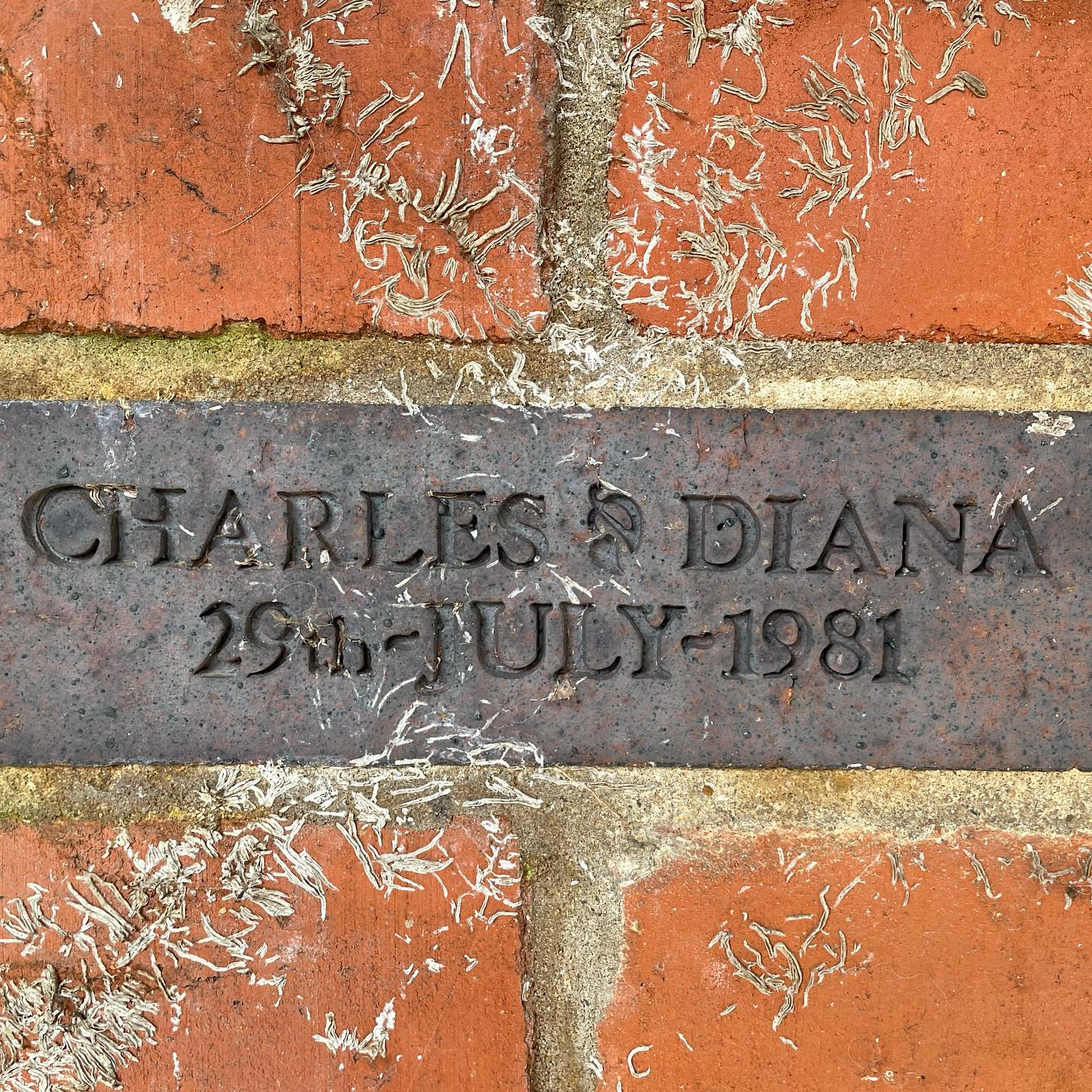 Charles and Diana wedding day commemorative brick spotted on today's new project site visit. See something new everyday on this job!